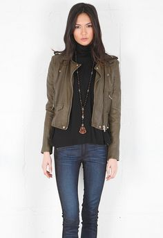 Iro Ashville Cropped Leather Jacket in Olive Green