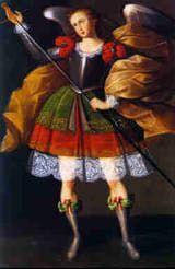 Arcángel Zadquiel por el <a href='http://angelesymilagros.about.com/od/angeles-imagenes/ss/los-angeles-de-calamarca-bolivia.htm'>Maestro de Calamarca,</a> Siglo XVII, óleo sobre tela 161 x 109,2 cm, Iglesia de Calamarca, La Paz, Bolivia.