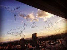 夕焼けとクジラ達。また来年。 sunset and whales. #fukushimafukushi #painting #drawing