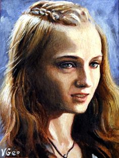 Original ACEO Sansa Stark Game of Thrones by V.Geo