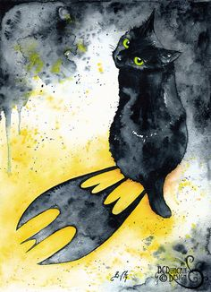 Bat Cat: Fine Art Giclee Watercolour Black Cat by ClockworkArtShop