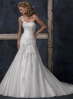 Crystal organza One-shoulder Strap Neckline A-line Wedding Dress - Bupop.com