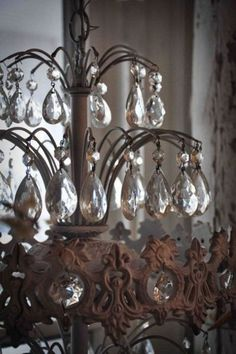 Subtle fleur de lis in an amazing chandelier