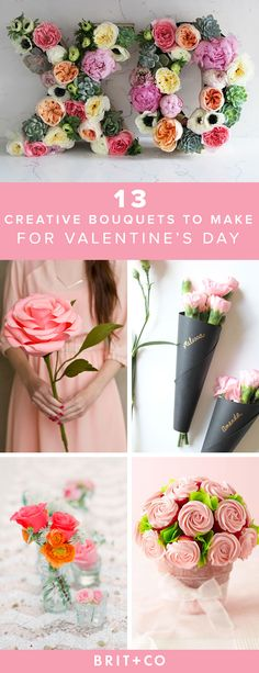 Make a creative bouquet to give on Valentine's Day with these floral ideas.