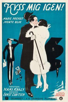 Kiss Me Again (1925) Stars: Marie Prevost, Monte Blue, John Roche, Clara Bow, Willard Louis ~ Director: Ernst Lubitsch (Swedish Poster)