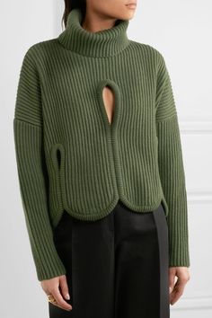 Antonio Berardi - Cutout Ribbed Wool And Cashmere-blend Turtleneck Sweater - Forest green - IT38