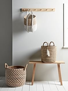 Crafted from natural round rattan for a beautiful textured finish, our statement occasional chair has a unique butterfly back shape, wide seat and angled black iron legs for a contemporary look. Natural rattan has a multi-tonal effect, meaning that each c Hallway Storage, Stair Storage, Coat Hooks Hallway, Wall Hanging Storage, Storage Hooks, Paper Storage, Bathroom Organization, Bathroom Storage, Bathroom Baskets