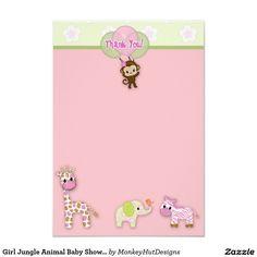 "Girl Jungle Animal Baby Shower Thank You 3.5""x5"" Card"