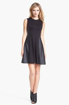 Vince Camuto Faux Leather Panel Fit & Flare Dress available at #Nordstrom