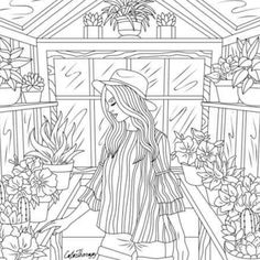 adult coloring greenhouse lady blank coloring pages coloring sheets coloring books line