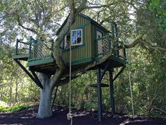 Barbara Butler-Extraordinary Play Structures for Kids -Terra Verde Treehouse Outside Playhouse, Build A Playhouse, Playhouse Outdoor, Wooden Playhouse, Outdoor Fun, Outdoor Spaces, Terra Verde, Luxury Playhouses, Luxury Tree Houses