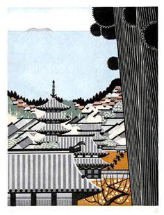 (Japan) Kaji by Ray Morimura. woodblock print.