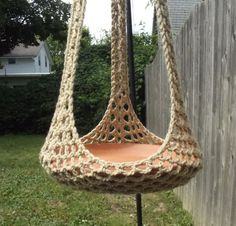 Plant Hanger/Bird Feeder Indoor Outdoor Crochet - Jute or Any Color Of Your Choosing