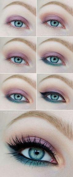 #pasoapaso #maquillaje para ojos turquesas en color rosa y verde