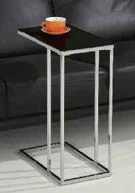 Sharla Chrome Finish Side Table 5Mm Black Tempered Glass 24 h