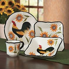 Dinnerware, 16-Piece Hand-Painted Rooster Sunflower Set from Ginny's ®