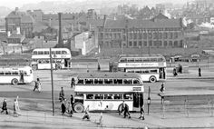 Pond Street Bus Station looking towards Joseph Rodgers and Sons, Sheaf Island Works and F.Brindley and Sons, hammer manufacturer, with the slums of the Park District in the background Sheffield City, Sheffield England, Sources Of Iron, Happy City, South Yorkshire, Bus Station, Busses, Slums, Derbyshire