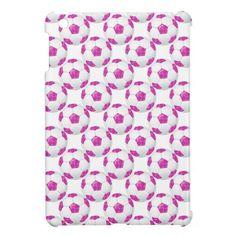 Pink Lipstick Kisses Pink Soccer Ball Case Savvy iPad Mini Glossy Finish Case