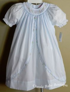 bf4a58571cd2ec NWT Petit Ami Blue Smocked Scalloped Bishop Dress 12 18 24 Months Baby Girls   PetitAmi