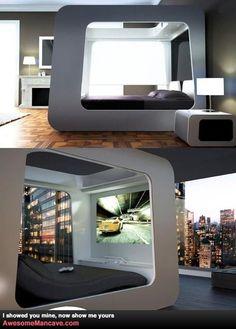 Flat screen on futuristic bed