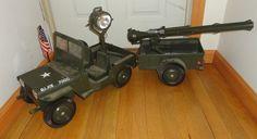 Vintage Original G.I. Joe Military Toy Jeep 7000 w/ Trailer & Search light Find me at www.dandeepop.com