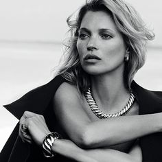 Silver sculpted like waves on the seashore. Kate Moss for David Yurman Fall 2014