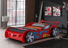 Boys / Girls Red Flame Sports Car Wooden Childrens Novelty Bed - 3ft Single