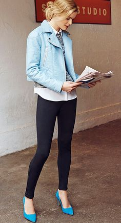Light blue moto jacket worn with a pair of slim ponte pants and bright blue heels via @anntaylorstyle