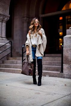 Gift Guide: Cozy Favorites - AS by DF Crochet Shawl // Gucci 'Double G Buckle' Belt // H&M Lace Cami // AG Jeans // Louis Vuitton 'Neverfull MM' // Over-The-Knee Boots // Le Specs Sunglasses December 7th, 2016 by maria