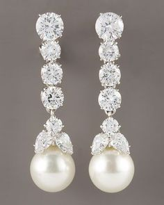 Graduated Cubic Zirconia Drop Earrings by Fantasia by DeSerio at Neiman Marcus.