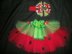 Watermelon picnic tutu set, 4th of July tutu or Summer Birthday tutu custom made up to a size 4t. $32.00, via Etsy.