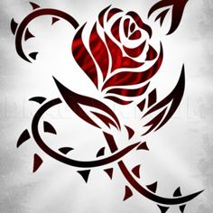 How To Draw A Rose For Beginners, Step by Step, Drawing Guide, by Dawn | dragoart.com Tribal Rose Tattoos, Flower Tattoos, Body Art Tattoos, Moon Tattoos, Arabic Tattoos, Side Tattoos, Taurus Tattoos, Celtic Tattoos, Tribal Drawings
