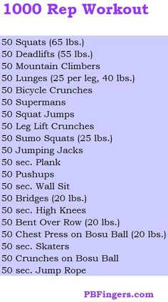 1000 rep workout.  Wow.  Can't wait to hurt!  :)