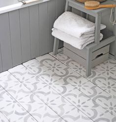 This large tile inspired, modern stencil is perfect for floors. Use it on bare or painted floorboards, laminate flooring, tiles and concrete. Porch Flooring, Linoleum Flooring, Diy Flooring, Kitchen Flooring, Laminate Flooring On Walls, Painting Laminate Countertops, Kitchen Wood, Basement Flooring, Kitchen Dining