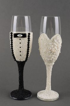 Amazon.com: Handmade wedding champagne glasses 2 pieces engagement accessories