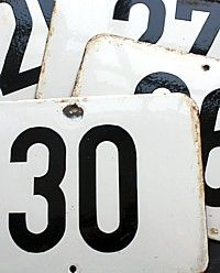 Antique European Enamel House Number Plaques-french,architectural, numbers, white, black,enamelware,