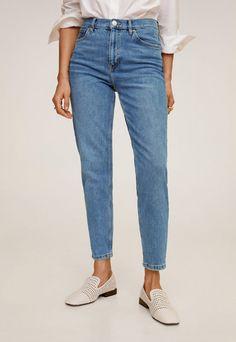 Blugi dama albastri slim simpli Jeans Fit, Denim Jeans, Mom Jeans, Denim Fashion, New Moms, Mango, Cotton Fabric, Fitness, Casual