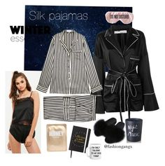"""""""Bedtime vibes silk pjs"""" by lexiepink21 on Polyvore featuring Off-White, Olivia von Halle, Bella Freud, Lapcos and BaubleBar"""