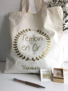 Tote bag témoin / demoiselle d'honneur personnalisable