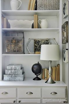 Bookcase styling: how-to-display-galvanized-file-boxes_thumb Styling Bookshelves, Decorating Bookshelves, Decorate Bookcase, Organize Bookshelf, Arranging Bookshelves, Shabby, My Living Room, Decoration, Home Accessories