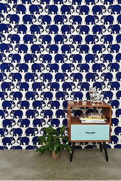 Stamp Tapestry Throw in Navy at Urban Outfitters Tile Patterns, Textures Patterns, Fabric Patterns, Thomas Bedroom, Interior Wallpaper, Himmelblau, Painting Wallpaper, Duck Egg Blue, Colorful Wallpaper