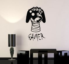 Vinyl Decal Gamer Hand Video Game Gaming Decor Boys Room Wall Stickers Unique Gift in X 45 in / Black