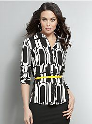 Black & White Bold Abstract Silky Blouse