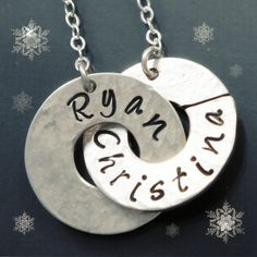 Personalized Hand Stamped Jewelry  Hand stamped by NiniAndCoco, Ryan bought me this necklace for our 5 year wedding anniversary :-)