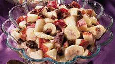 Tangy salad ready in 15 minutes! Combination of apples, pears, dates, bananas gives you delicious fruit dish flavored with mayonnaise and lemon juice.