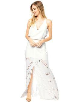 ce625ad0f3617 Vestido Longo Carmim Angeline Mosaic Branco - Marca Carmim Vestidos  Compridos