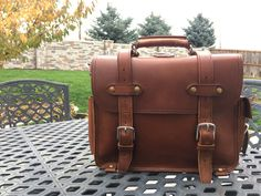 """14"""" Single Space Briefcase in Tobacco from Marlondo Leather Co."""