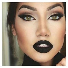 Gorgeous Black Lipstick For Women Lo. - Gorgeous Black Lipstick For Women Looks Cool – Uniq LOG - Fall Makeup, Love Makeup, Makeup Inspo, Makeup Inspiration, Winter Makeup, Awesome Makeup, Retro Makeup, Perfect Makeup, Summer Makeup