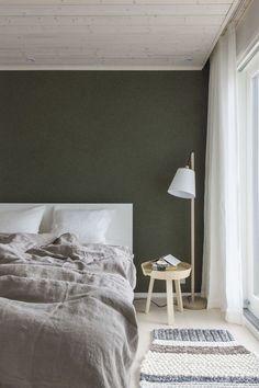 Dark Green walls via simply grove