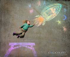 Fun portrait of my daughter flying into space!  Sidewalk chalk drawing. www.jonandjulie.com